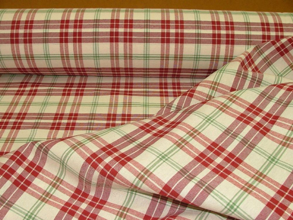 Prestigious Textiles Red Apple Cream Check Curtain Soft